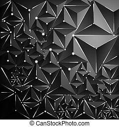 punti, triangolo, astratto, neon, scuro, lines., fondo