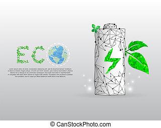 punto, batteria, esso, poly, energia, terra, triangoli, foglia, polygonal, fondo., basso, bianco, addebitare, wireframe, forma, eco, illustrazione, linee, grows, pianeta, vettore, verde