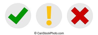 punto, bianco, set, x, marchio, bottoni, marchio, icone, isolato, eps10, collezione, esclamazione, fondo., vettore, assegno, illustrazione