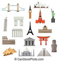 punto di riferimento, architettura, o, icon., monumento