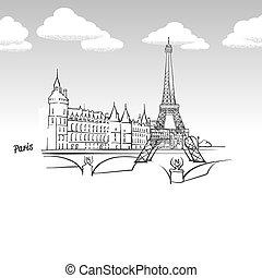 punto di riferimento, famoso, schizzo, parigi, francia