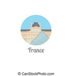 punto di riferimento, francia, isolato, rotondo, icona