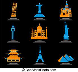 punto di riferimento, internazionale, 2, -, icone