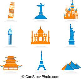 punto di riferimento, internazionale, icone