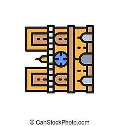 punto di riferimento, linea, dama, notre, icon., parigi, cattedrale, francia, colorare, appartamento