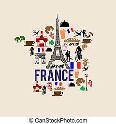 punto di riferimento, mappa, francia, silhouette, icona