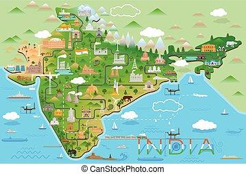 punto di riferimento, mappa, monumento, india, famoso