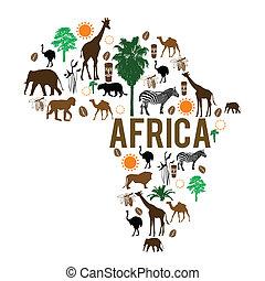 punto di riferimento, mappa, silhouette, africa, icone