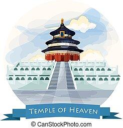 punto di riferimento, porcellana, cielo, beijing., tempio
