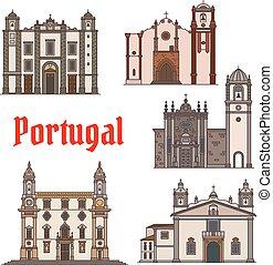 punto di riferimento, portoghese, viaggiare, disegno, icona