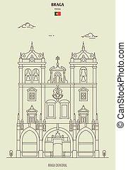 punto di riferimento, portugal., icona, cattedrale, braga