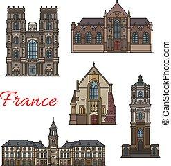 punto di riferimento, rennes, viaggiare, francese, icona