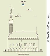 punto di riferimento, salone, estonia., tallinn, città, icona