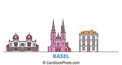 punto di riferimento, vector., linea, mondo, appartamento, oultine, basel, cityscape, viaggiare, città, icone, svizzera, illustrazione