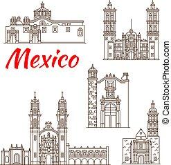 punto di riferimento, viaggiare, icona, messicano, architettura