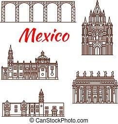 punto di riferimento, viaggiare, lineare, icona, messicano, architettura