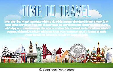 punto di riferimento, viaggio mondo, vettore, tempo
