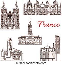 punto di riferimento, viste, francese, viaggiare, icona, architettura