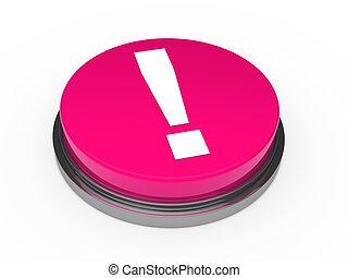 punto esclamativo, rosa, 3d, bottone