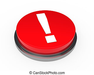 punto esclamativo, rosso, 3d, bottone