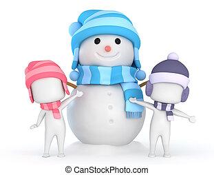 pupazzo di neve, bambini, gioco