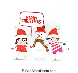 pupazzo di neve, bambini, gioco, presa a terra