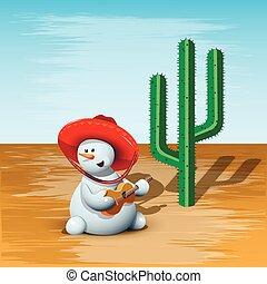 pupazzo di neve, cactus