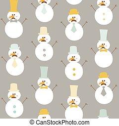pupazzo di neve, cappelli inverno, -, seamless, vettore, retro, fondo, baffi
