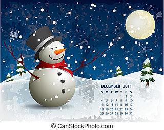 pupazzo di neve, dicembre, calendario, -