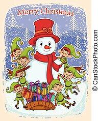 pupazzo di neve, elfo, allegro, regalo, natale