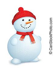 pupazzo di neve, il portare, sciarpa