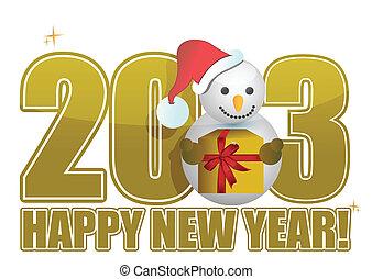 pupazzo di neve, testo, anno, nuovo, 2013, felice