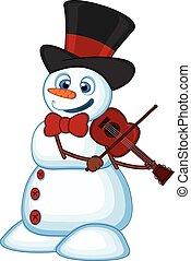 pupazzo di neve, violino, gioco, cappello