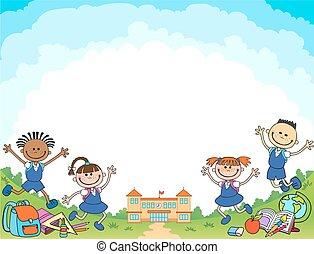 pupilla, vettore, bandiera, ragazza, logotipo, indietro, ragazzo, scuola, iscrizione