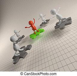 puzzle, 3d, lavoro squadra, persone