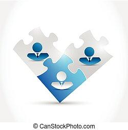 puzzle, affari persone, illustrazione, pezzi