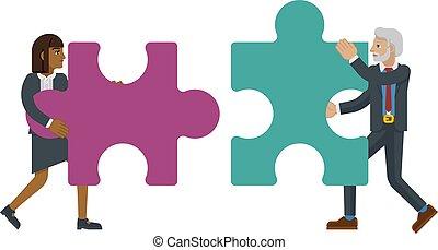 puzzle, affari, pezzo, concetto, caratteri, jigsaw