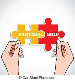 puzzle, associazione, pezzo, mano