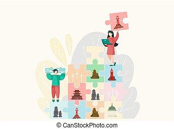 puzzle, attrazione, giovani persone, famoso, differente, insieme, mettere, landmarks.