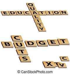 puzzle, budget, cruciverba, tagli, educazione, qualità