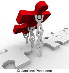 puzzle, collocazione, lavoro squadra, finale, pezzo