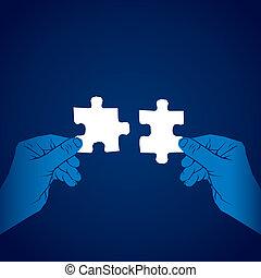puzzle, concetto, unire, pezzo