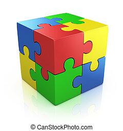 puzzle, cubico, colorito, 3d
