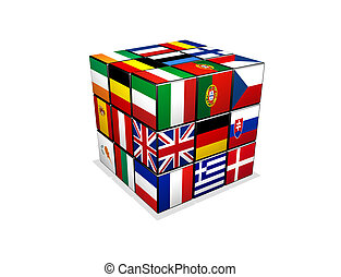 puzzle, cubo, bandiere, europeo, 3d