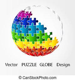 puzzle, disegno, globo, 3d