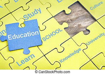 puzzle, educazione, parola