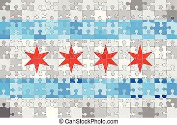 puzzle, fatto, bandiera, fondo, chicago