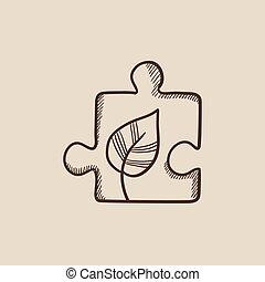 puzzle, foglia, schizzo, icon.