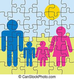 puzzle, gioco, fondo, famiglia