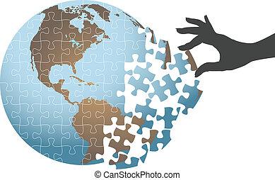 puzzle, globale, soluzione, mano, persona, trovare